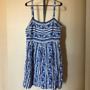 LOFT Blue & White Floral/Stripe Strappy Sundress
